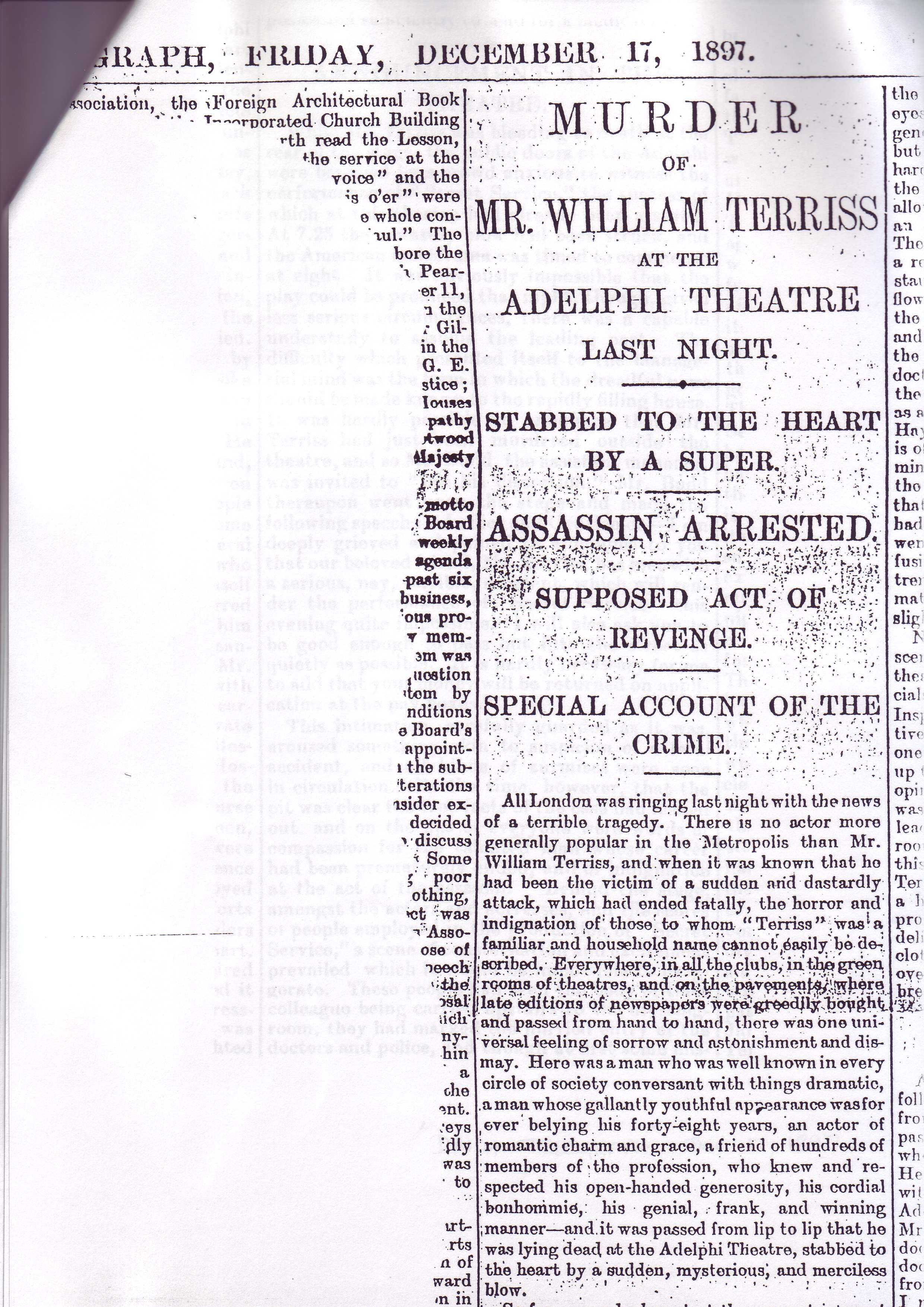 Article re: Terriss murder, Daily Telegraph 17.12.1897