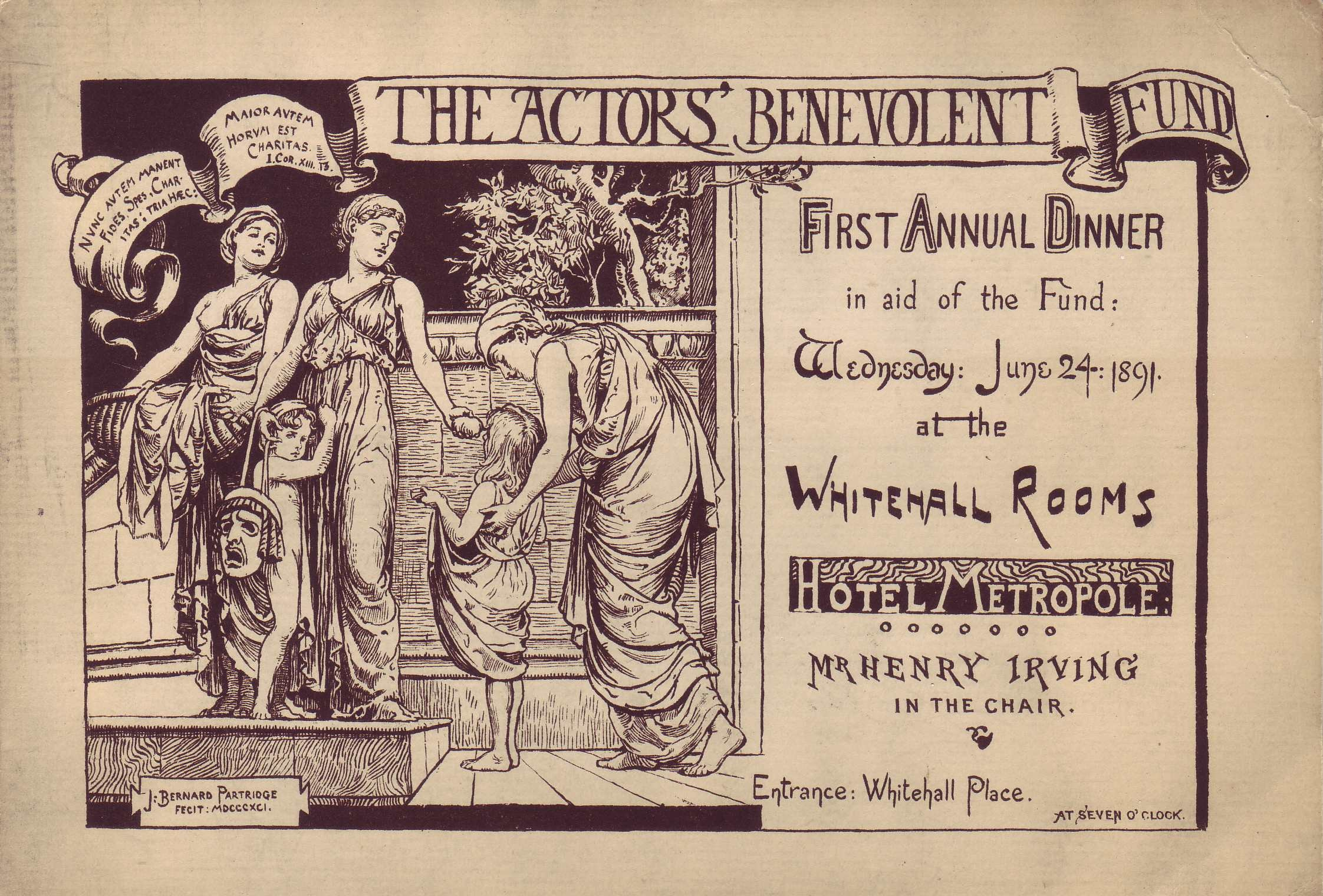 Flyer for the ABF's First Annual Dinner, 1891
