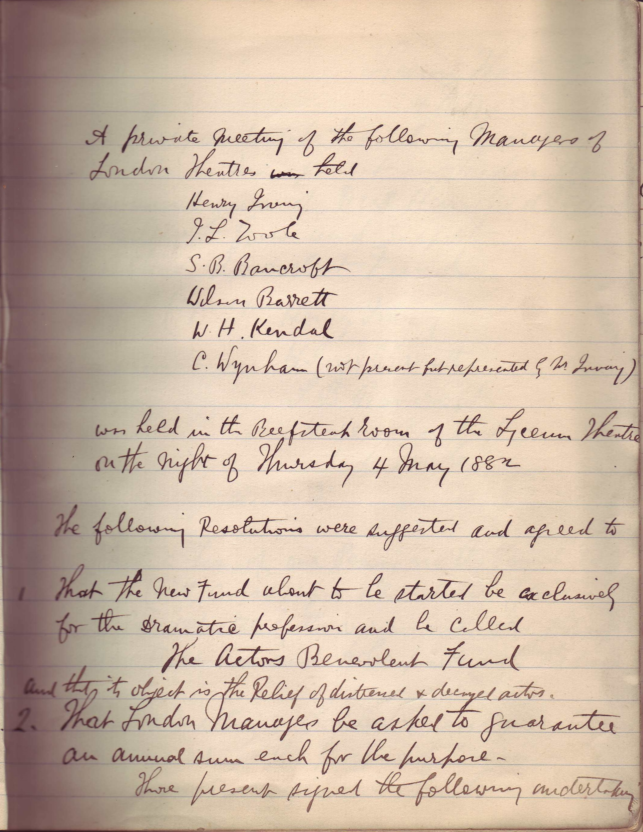 Minutes of the first meeting of the Actors' Benevolent Fund, 4th May 1882
