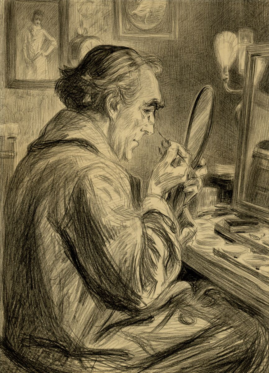 Sir Henry Irving Making up for a Performance,  Paul Renouard 1845-1924.  Original drawing used here by kind permission of The Art Archive and The Garrick Club